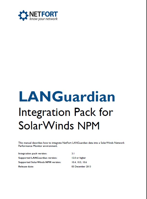 LANGuardian Integration Pack for SolarWinds Installation Guide
