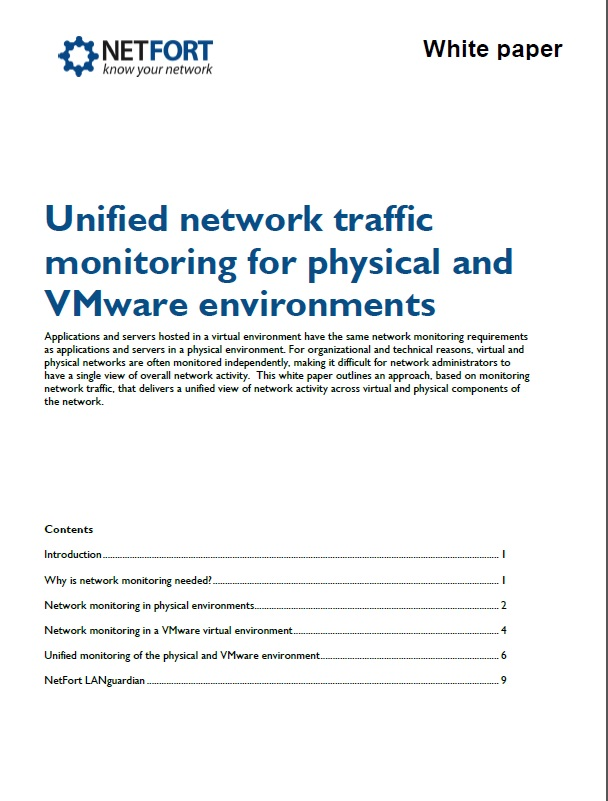 LANGuardian Unified Network Traffic Monitoring for Physical VMWare Environments White Paper