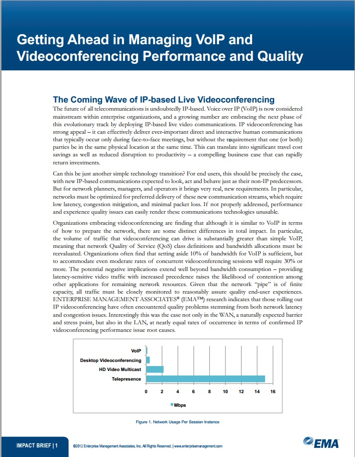 Getting Ahead in Managin VoIP and Videconferencing Performance and Quality