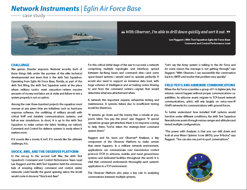 Network Instruments Eglin Air Force Base Case Study