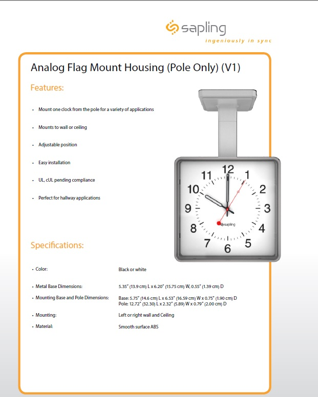 Analog Flag Mount Housing Square Specs