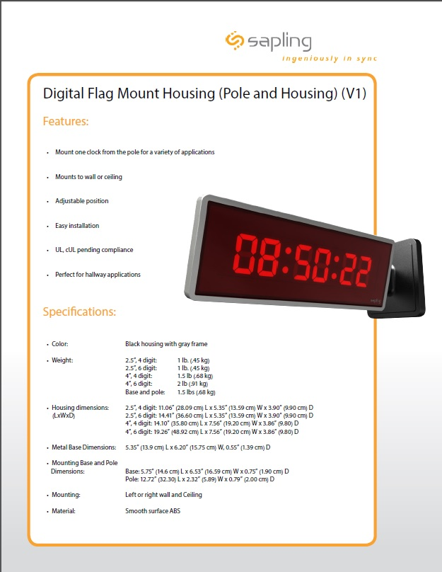 Digital Flag Mount HousingPole Housing Specs