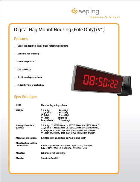 Digital Flag Mount Housing Pole Only Specs