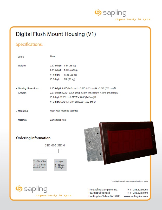 Digital Flush Mount Housing Specs