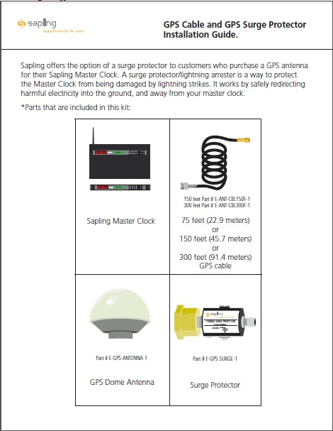 Sapling`s GPS Cable and GPS Surge Protector Installation Guide