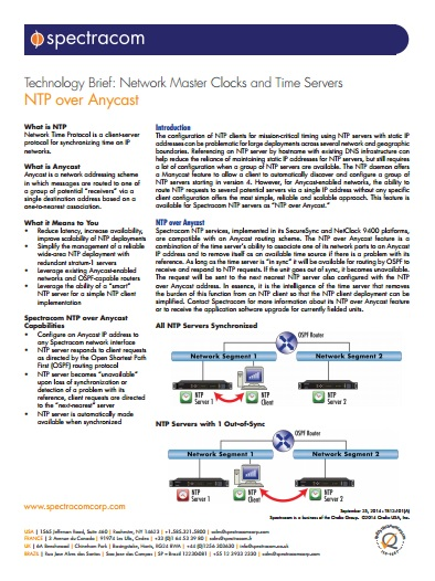 Technology Brief: Network Master Clocks and Time Servers