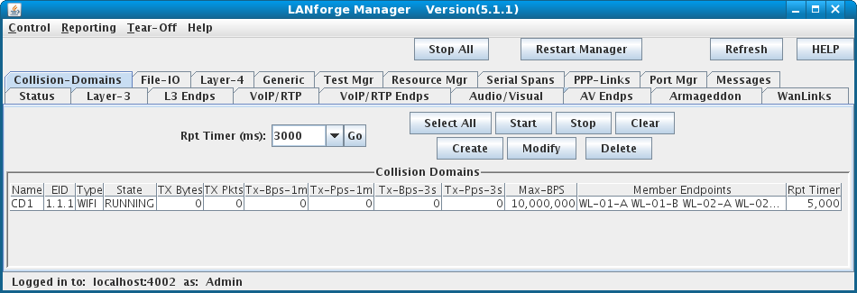 LANforge-GUI Network Emulation Collision Domain Display
