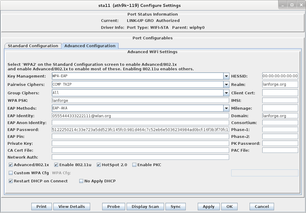 Candela LANforge WiFIRE Configure Settings