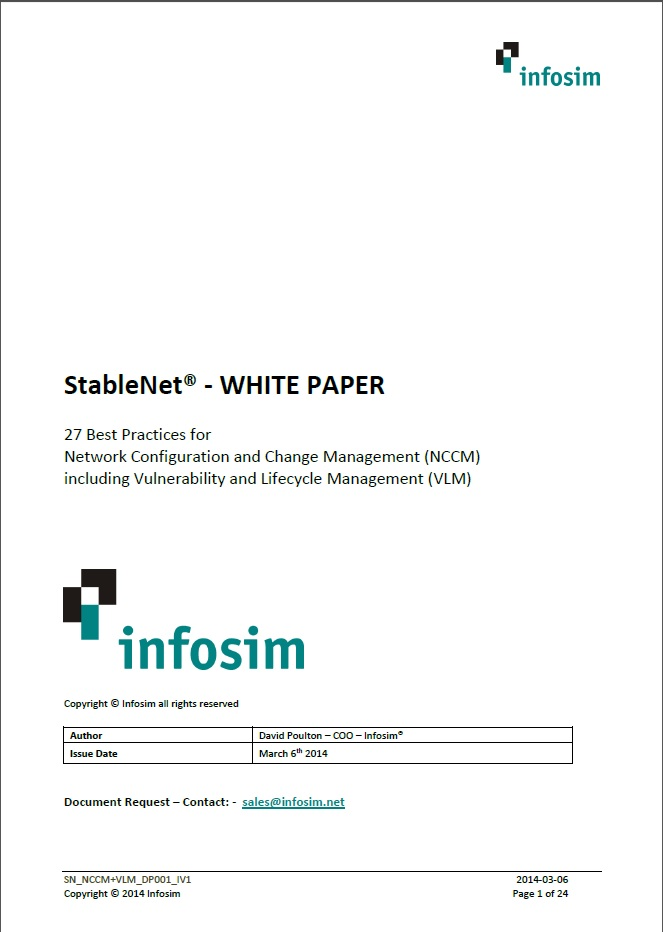 Infosim StableNet 27 Best Practices for Network Configuration and Change Management (NCCM) including Vulnerability and Lifecycle Management (VLM)
