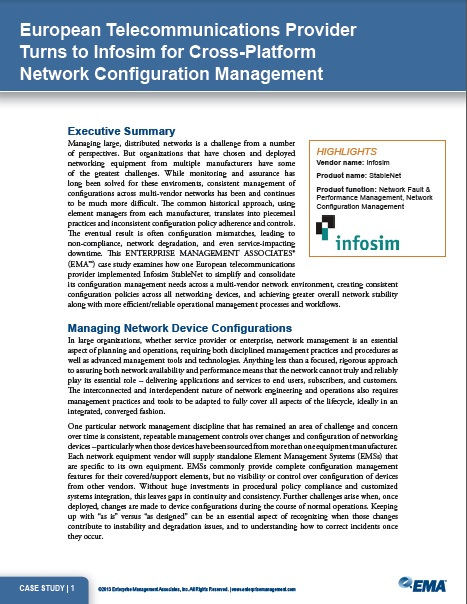 Infosim Case Study- European Telecommunications Provider Turns to Infosim for Cross-Platform Network Configuration Management