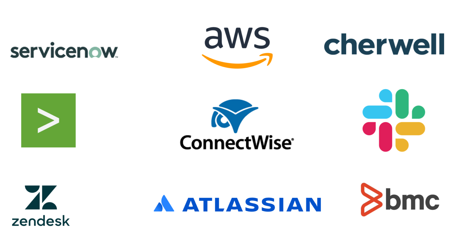 ServiceNow, AWS, Cherwell, ConnectWise, ZenDesk, Atlassian, BMC