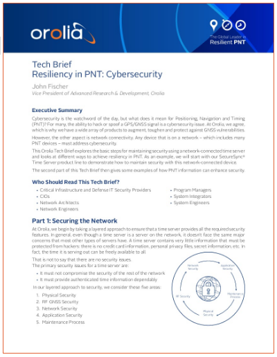 Orolia - Tech Brief Resiliency in PNT: Cybersecurity