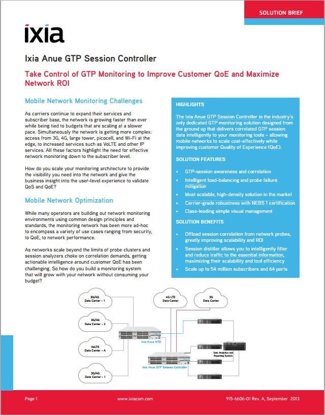 Ixia Anue GTP Session Controller Solution Brief