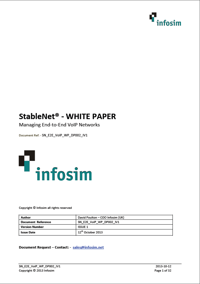 Infosim StableNet Managing End to End VoIP-Networks