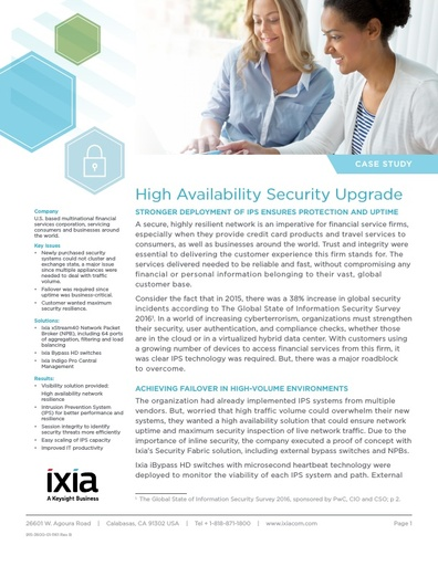 Ixia High availability Security Upgrade