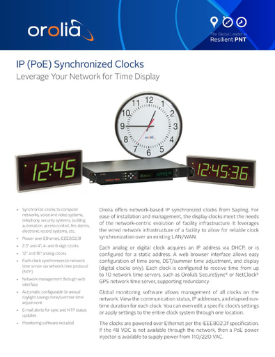 IP (PoE) Synchronized Clocks Datasheet