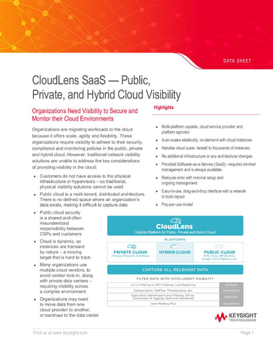 CloudLens SaaS — Public, Private, and Hybrid Cloud Visibility