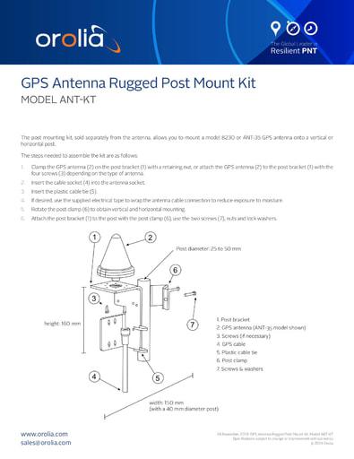 GPS Antenna Rugged Post Mount Kit MODEL ANT-KT